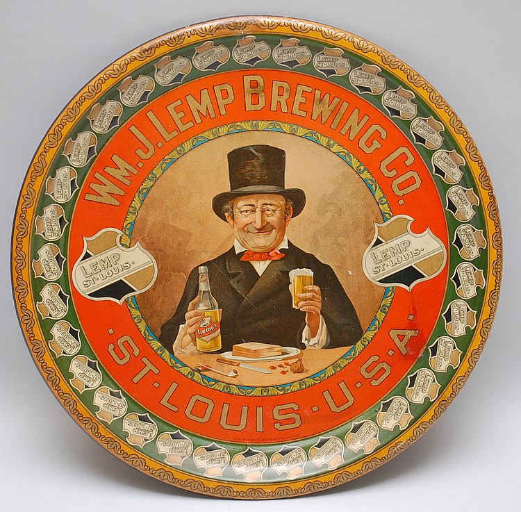 "ORIGINAL 12"" WM. J. LEMP BREWING CO. ADVERTISING SERVING TRAY"