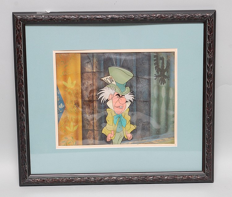 FRAMED ORIGINAL WALT DISNEY ALICE IN WONDERLAND MAD HATTER ANIMATION CEL