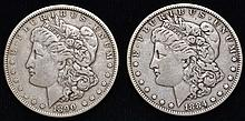 2 U.S. SILVER MORGAN SILVER DOLLARS DATED 1884 & 1890 ($2.00 FACE VALUE)