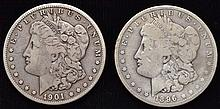 2 U.S. SILVER MORGAN SILVER DOLLARS DATED 1896-O & 1901-O ($2.00 FACE VALUE)