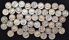 50 MISC. U.S. SILVER MERCURY & ROOSEVELT DIMES $5.00 FACE VALUE)