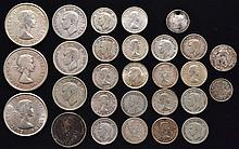 MIXED LOT OF CANADIAN SILVER COINS TO INCLUDE (2) HALF DIMES, (19) DIMES, (4) QUARTERS AND (3) HALF DOLLARS - (29) COINS ($4.50 FACE VALUE)