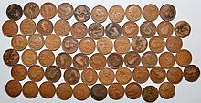 63 LARGE ENGLISH COPPER ONE CENT COINS