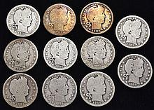 11 MISC. U.S. SILVER BARBER QUARTERS DATED 1898, 1900, 1908, 1908-O, 1908-D, 1909, 1909, 1909, 1909-D, 1911($2.75 FACE VALUE)