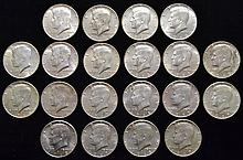 20 MISC. U.S.S SILVER KENNEDY HALF DOLLARS POST 1964 40% SILVER ($10.00 FACE VALUE)