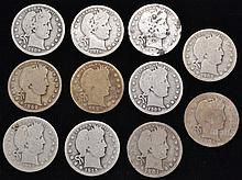 11 MISC. U.S. SILVER BARBER QUARTERS DATED 1897, 1899, 1901, 1904, 1908-D, 1908-O, 1909, 1909-D, 1915, 1915-D, 1916-D ($2.75 FACE VALUE)