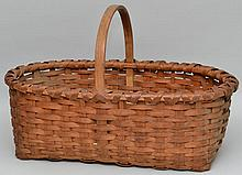 19TH CENT. WOVEN SPLINT GATHERING BASKET