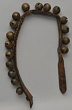 19TH CENT. LEATHER STRAP OF (17) BRASS SLEIGH BELLS