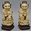 (2) 20TH CENT. CHINESE CARVED IVORY FOO DOG FIGURES