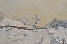 ELSTER OIL PAINTING ON CANVAS OF A WINTER LANDSCAPE