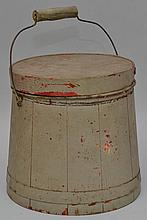 SMALL 19TH CENT. N.E. PAINTED BANDED WOODEN FIRKIN