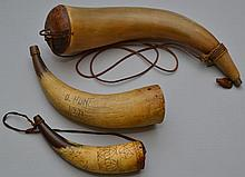 (3) MISC. STEER HORN POWDER HORNS INC. (2) WITH CARVINGS