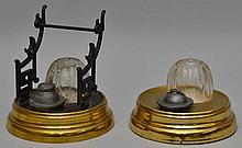 (2) 19TH CENT. THOMAS HUDSON PATENT BAROMETRIC INKWELLS
