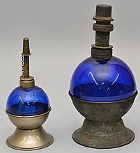 (2) 19TH CENT. ROUND COBALT BLUE GLASS ALCOHOL LAMPS
