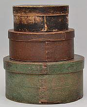 (3) 19TH CENT. N.E. PAINTED ROUND WOODEN PANTRY BOXES