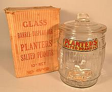 ORIGINAL MOLDED GLASS PLANTER'S PEANUTS ADVERTISING BARREL JAR WITH ORIGINAL BOX