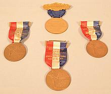 (4) 1927 VERMONT SESQUICENTENNIAL RIBBONED BRONZE MEDALS