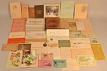BOX LOT OF 19TH & EARLY 20TH CENT. PAPER EPHEMERA AND SAVINGS