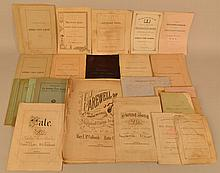 19TH & 20TH CENT. PAPER EPHEMERA OF THE KIMBALL UNION ACADEMY - MERIDEN VILLAGE - PLAINFIELD N.H.