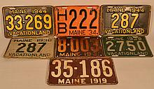 (7) MISC. MAINE AUTOMOBILE LICENSE PLATES FROM 1919-1944