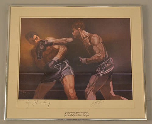 1973 LIMITED EDITION BOB PEAK COLOR LITHOGRAPH SIGNED BY JOE LOUIS AND MAX SCHMELING
