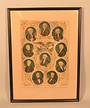 19TH CENT. N. CURRIER COLORED LITHOGRAPH ENGRAVING OF THE PRESIDENTS OF THE UNITED STATES