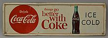 VINTAGE PAINTED TIN COCA-COLA ADVERTISING SIGN