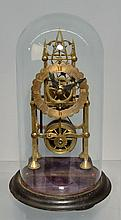 19TH CENT. ENGLISH BRASS SKELETON CLOCK UNDER GLASS DOME