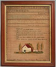 19TH CENT. N.E. NEEDLEWORK SAMPLER WROUGHT BY LYDIA M. SHEARMAN - BRISTOL - 1846