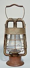 EARLY 20TH CENT. DIETZ KING FIRE DEPARTMENT PAINTED TIN LANTERN