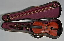 19TH CENT. VIOLIN WITH (2) BOWS AND CASE