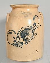 19TH CENT. FLORAL DECORATED J.S. TAFT & CO. - KEENE, N.H. STONEWARE STORAGE JAR