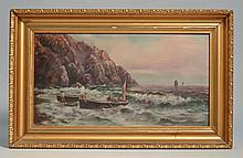 LATE 19TH CENT. - EARLY 20TH CENT. SEASCAPE OIL PAINTING