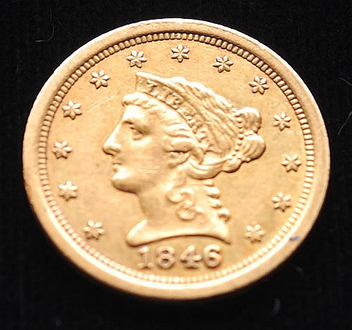 1846-O U.S. GOLD LIBERTY HEAD/QUARTER EAGLE $2.50 COIN