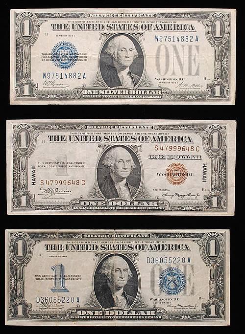 (2) MISC. U.S. $1 SILVER CERTIFICATES & (1) HAWAIIAN $1 SILVER CERTIFICATE