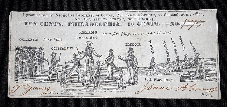 OBSOLETE 1837 PHILADELPHIA 10-CENT NOTE