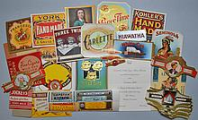 (67) MISC. VINTAGE SMALL SIZE COLOR LITHOGRAPH TOBACCO ADVERTISING LABELS WITH (2) CIGAR PACKS, BROCHURE AND INVITATION