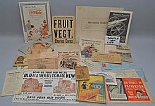 FLAT LOT COLLECTION OF MISC. 19TH CENT. & EARLY 20TH CENT. ADVERTISING PAPER EPHEMERA