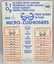 VINTAGE STORE ADVERTISING DISPLAY CARD OF (24) PACKETS OF MICRO-CUSHIONERS FOR EYE GLASSES
