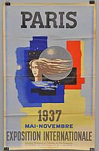 1937 FRENCH PARIS EXPOSITION INTERNATIONALE COLOR LITHOGRAPH TRAVEL POSTER
