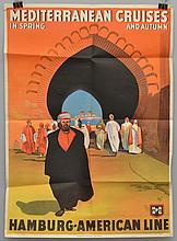 EARLY 20TH CENT. HAMBURG - AMERICAN LINE - COLOR LITHOGRAPH TRAVEL POSTER