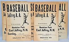 (6) VINTAGE JAFFREY BASEBALL GAME ADVERTISING POSTER CARDS