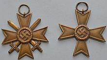(2) NAZI GERMANY WAR MERIT BRASS CROSS MEDALS