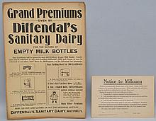 (2) VINTAGE PRINTED CARD DAIRYMAN'S SANITATION AND BOTTLE RETURN POSTERS