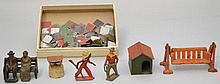 (8) VINTAGE PAINTED METAL TOYS AND A DIE CUT PAINTED METAL PUZZLE TOY