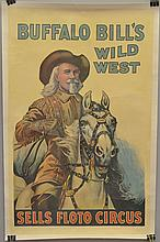 VINTAGE COLOR LITHOGRAPH SELLS FLOTO CIRCUS ADVERTISING POSTER FEATURING BUFFALO BILL'S WILD WEST