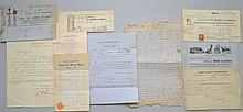 10 PC. ARCHIVE OF MISC. 19TH CENT. PAPER EPHEMERA