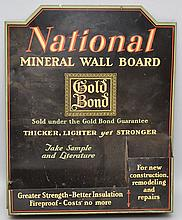 VINTAGE TIN LITHOGRAPH WALL POCKET SIGN FOR NATIONAL MINERAL WALL BOARD BY GOLD BOND