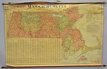 SCARBOROUGH'S 1903 ROLL UP TOPGRAPHIC WALL MAP OF MASS.