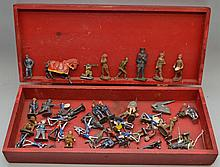(51) MISC. VINTAGE PAINTED AND UNPAINTED LEAD AND COMPOSITION SOLDIER AND MEDIEVAL KNIGHTS CHARACTER TOYS